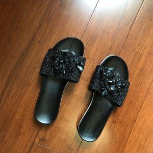 Zara black jewelry sandals